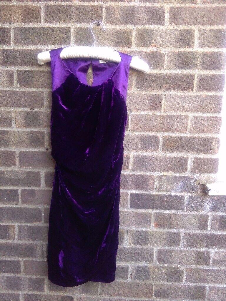 Karen Millen purple velvet draped dress size 8