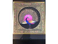 "Original Painting golden peacock bird fine quality silk art11.5""X11.5""with frame"