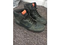 Nike Olive Green Leather and Suede Trainers