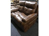 New brown leather two seater sofa