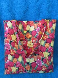 Ladies tote bag perfect Easter gift, handmade by Peachy. 100% cotton with red lining