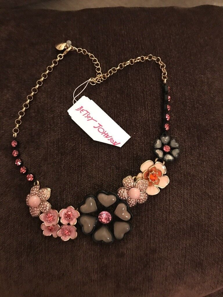 Betsy Johnston Pink and Black Jewelled Statement Necklace