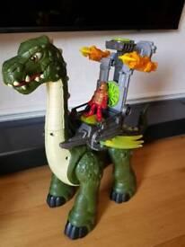 Imaginext mega apatosaurus dinosaur walks