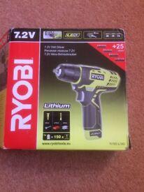 New Ryobi R7SD-L13G 7.2v cordless li-ion drill/driver with accessories