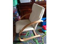 Nursing chair / Rocking chair. Ergonomic with neck support, Leather.