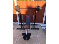 Squat Stand + Bench + Weights. •Can Deliver•