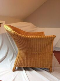 Large Woven Rattan Easy Chair