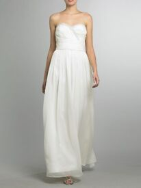 Strapless Jewel Ruched Waist Dress in White (ivory) size 8