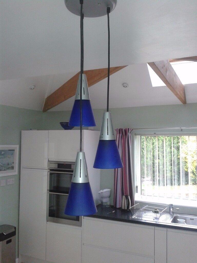 3 Blue glass hanging light assembly