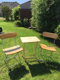 2 x Wooden Fold Up garden camping chairs & fold up wooden table