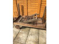 Teak table and 4 recline/fold chairs
