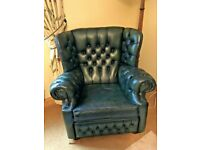 Green Leather Chesterfield Queen Anne Style Armchair in Good Used Condition
