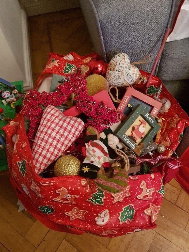 Big bag of christmas decorations