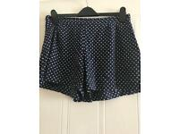 Ladies shorts size 14 - blue with white Polkadots - Elasticated back- excellent condition