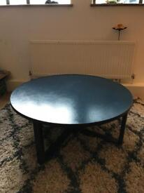 Mid century modern round coffee table, oceanic blue MINT RRP£600