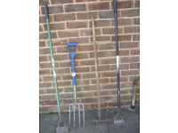 Garden tools,5 quality strong garden tools,fork,spade,2 hoes and a rake
