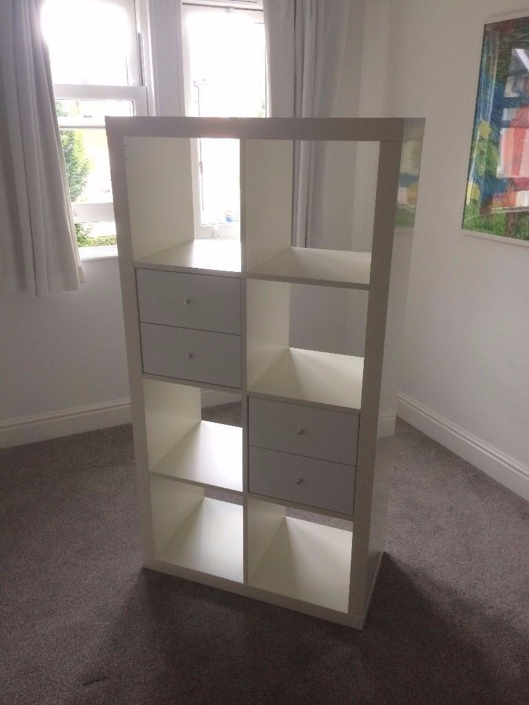 White High Gloss IKEA KALLAX (2 x 4 squares) - Ikea's fantastic shelving, storage and display unit