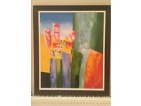 Abstract Oil Painting framed in wood frame