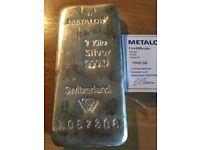 Silver Bullion .999 pure, 1Kg Silver bar