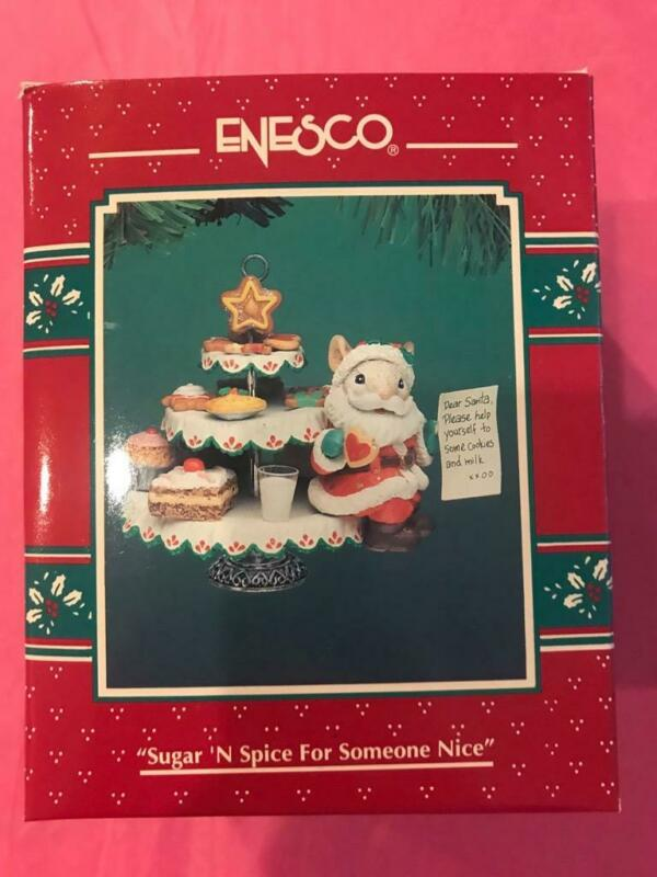 Enesco Ornament 1994 Sugar N Spice For Someone Nice Santa Mouse Cookies Milk EUC
