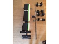 York fitness bench, x4 dumbell bars, 1x large bar & various weights