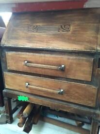 Vintage retro wooden antique chest of drawers bureau desk cabinet