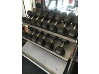 20 - 40 kg rubber hex dumbell weights and rack