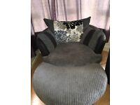 Large Corner Sofa, Swivel Chair and Footstool