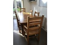 Solid Pine Refectory Dining Table and 6 Chairs