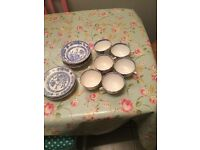 Blue and white vintage china tea set