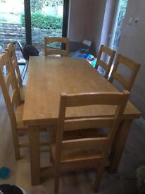 Large dining table and chairs