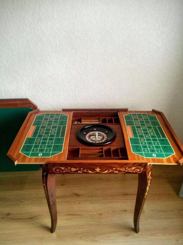 Vintage Table For Roulette Backgammon Chess And Cards Handmade