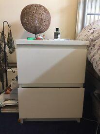 Bedside table - 2 drawer white