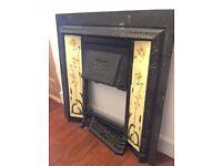 Victorian Cast Iron Art Deco Tile Firepalce