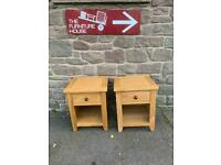 Pair of solid oak single drawer bedside chests * free furniture delivery *