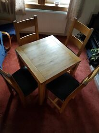 Small Oak Dining Table and four chairs
