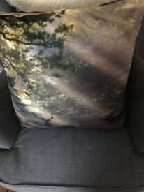 Stag design cushion 23in by 23 in