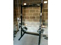 Complete weights rack with bench and free weights.