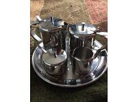 Retro vintage Stainless steel 7 piece coffee/tea set