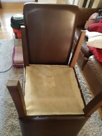 4 brown leather table chairs