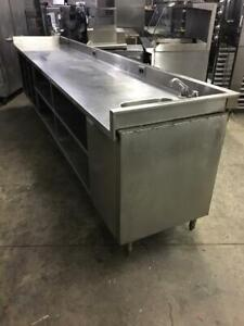 147 inch Heavy duty stainless steel table with hand sink only $995!