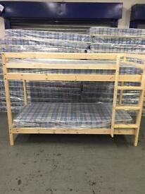 Pine bunk with mattresses