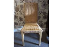 Six Maple and rattan chairs
