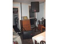 Fender PA speakers , Stands & leads . speakers 150w RMS, stands about 3 metre , trilobal cases