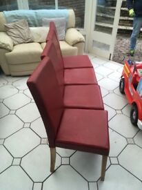 Lovely red chairs. Very good condition. Smoke and pet free house.