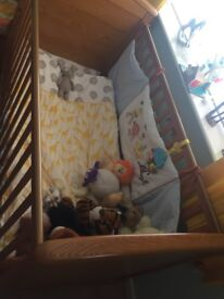 Manas & papas cot bed complete with matresss d bedding
