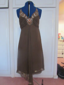 Oasis brown 100% silk fully lined evening dress Size 12 BNWT (RRP£60)