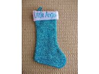Babys / Childrens / Ladies / Womens Little Angel Sparkly Turquoise Blue Christmas Xmas Stocking