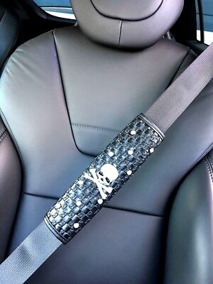 Universal Luxury Faux Leather Crystal Skull Seat Belt Pads