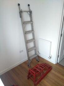 Aluminium 3 way combination ladder, car ramp